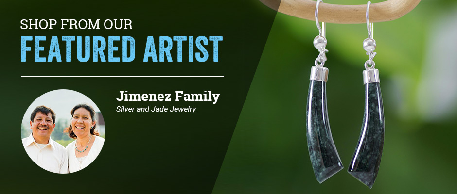 Shop from our featured artist! Jimenez Family, Silver and Jade Jewelry.