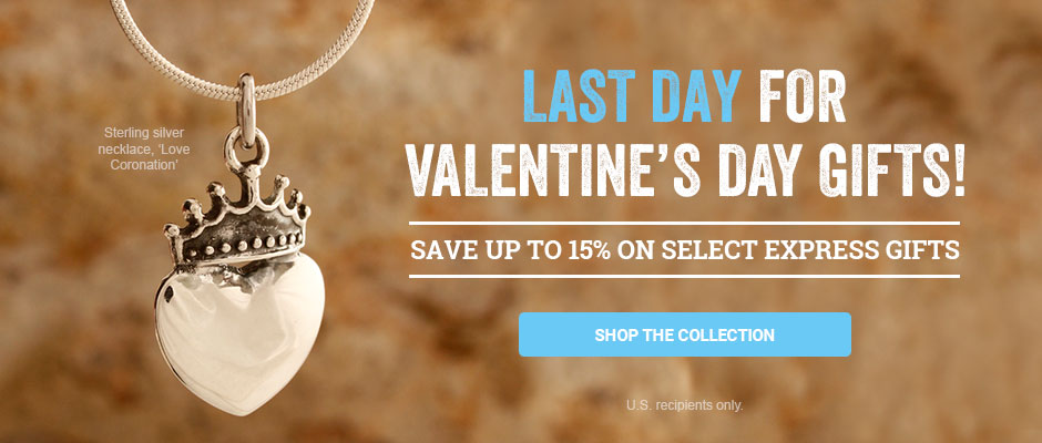 Last day for Valentine's Day Gifts! Save up to 15% on select express gifts. Shop the collection!